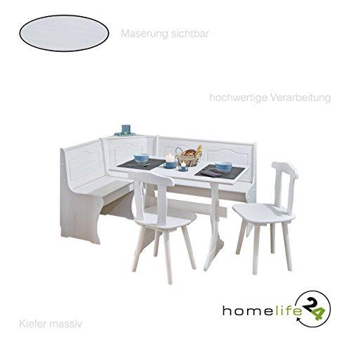 Eckbank Gruppe mit Tisch Bank und 2 Stühle weiß Kiefer massiv Tisch Essecke