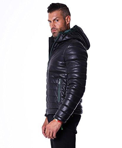 D'Arienzo Doudoune avec capuche en cuir véritable, Noir Noir