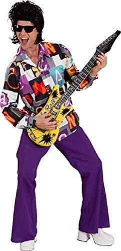 Fancy Me Herren 1970s 1980s Jahre Disco Fever Leuchtend Hippie Seele Schleppe Rock Kostüm Kleid Outfit Hemd - Multi, X-Large (EU 54/56)