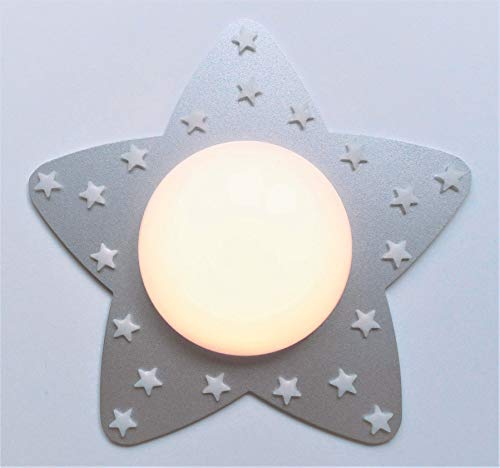 Funnylight LED Kinder Lampe Deckenleuchte Fröhliche Sterne Silber mit glow in the dark Sternen für das Baby und Kinder Schlaffzimmer (Glow In The Dark-licht-lampe)