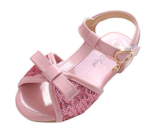 tschfest Peep Teo T-Spangen mit Pailletten und Schleife Alltag Sandalen Kinderschuhe Pink 29 EU (Römisch Paar Kostüme)