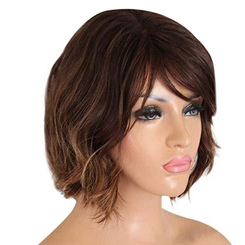 TIREOW Perücke Damen Mode Kurze Gewellte Synthetische Braun Perücken für Frauen