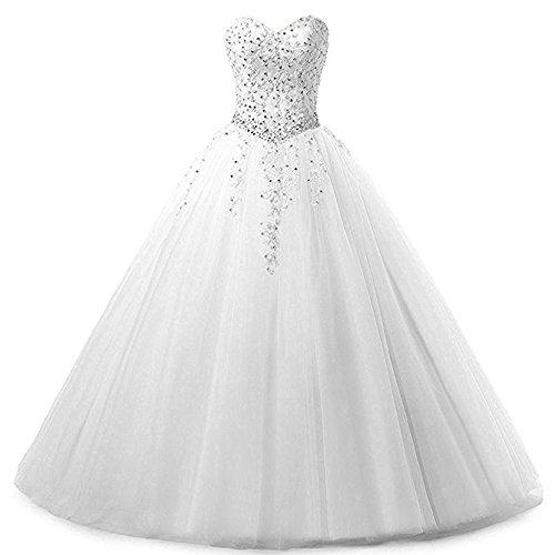 Zorayi Damen Liebsten Lang Tüll Formellen Abendkleid Ballkleid Festkleider Weiß Größe 34