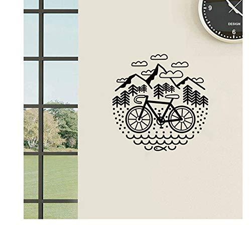jqpwan Fahrrad und BergeWandtattoosRadfahren Kies Fahrrad Vinyl Wandaufkleber Outdoor Radfahren Wanddekor 56 * 56 cm