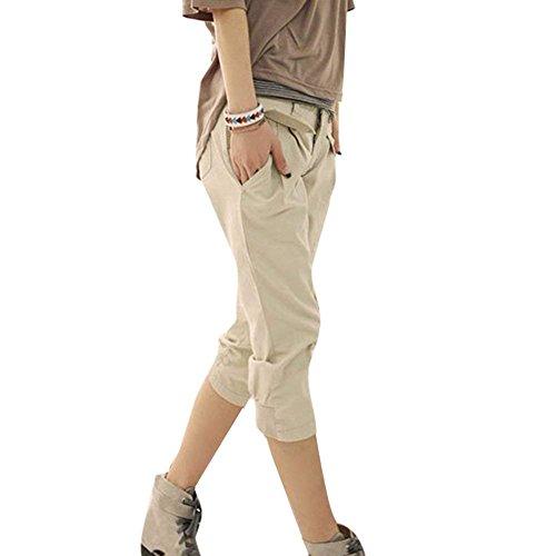 Minetom Damen 3/4 Capri Hosen Sommer Mode Casual Harem Hosen Elegant Lose Hohe Taille Einfarbig Bermuda Kurze Hosen mit Seitentaschen  Feature:  Geschlecht: Damen, Mädchen Material: Baumwollmischung Größe: EU XS - EU XL Paket beinhaltet: 1 * Damen Ho...