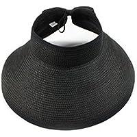 Butterme Pieghevole Rotolo estate delle donne fino grande bordo largo cappello della spiaggia di Sun del cappello di paglia w / Carino Bowtie (Nero)