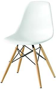 Sedia mod. DSW bianca in polipropilene e gambe in legno di faggio