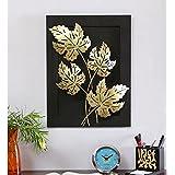 World Decor Iron Metal 4 Jali Leaf Wall Decor on Board (14 X 03 X 19 Inch, Black, Medium)