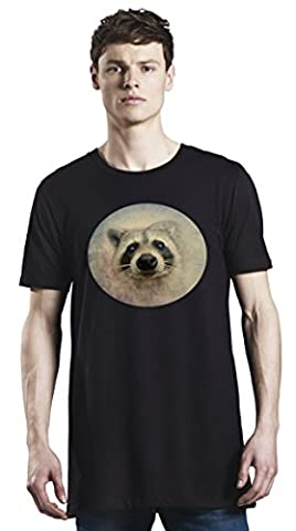 Cute Raccoon Face Long T-Shirt For Men| Custom -Printed Tee| 100% Superior Organic Combed Cotton| Premium Quality DTG Printing| Unique Clothing For Men By Bang Bangin X-Large