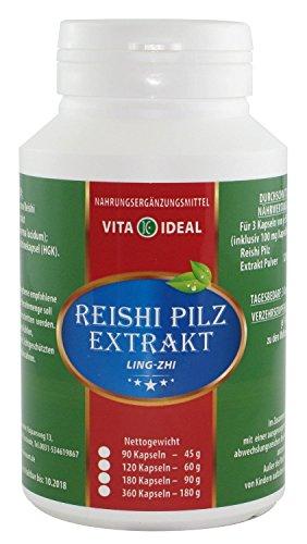 Pflanzliche Adstringierend (Reishi Pilz Extrakt (Ling-Zhi, Ganoderma lucidum) 90 Kapseln je 400mg ohne Zusatzstoffe)