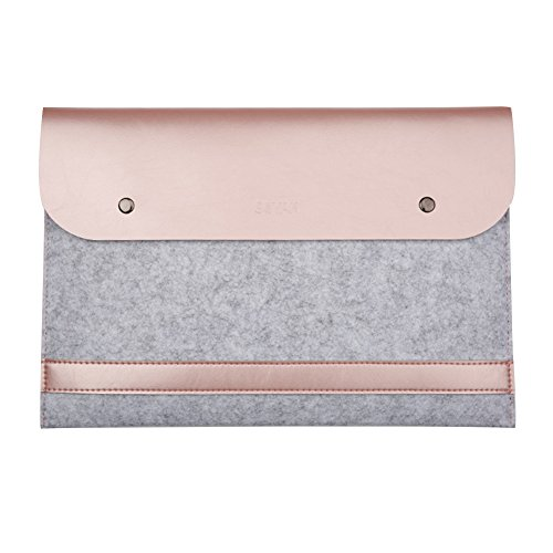 Eleoption MacBook Sleeve Filz und Ledertasche Laptop Hülle Case Doppelschicht Tasche auch für Maus Mouspad iPad mini Air iPhone (Macbook 12
