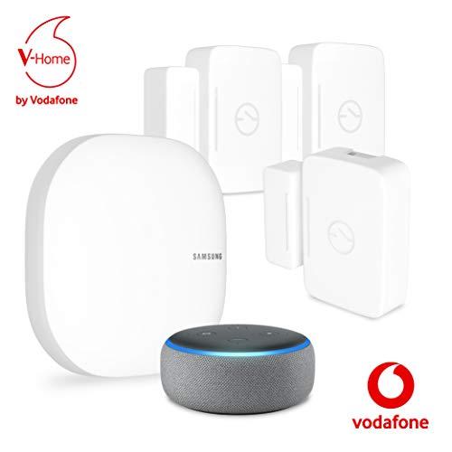 Vodafone V-Home Safety Amazon Kit von Samsung, SmartThings-Hub (Connect Home Pro AC2600), Amazon Echo Dot (3. Gen), 3x Mehrzwecksensor und Service - Mobilfunk-zubehör Samsung