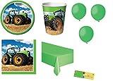 Irpot Kit N.21 Compleanno Trattore + Tovaglia e Palloncini Verdi
