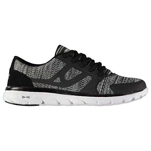 U.S.A. Pro USA Pro Womens lazulite Knit Trainers Runners Lace Up Padded Ankle Collar Black Knit UK 5 (38)
