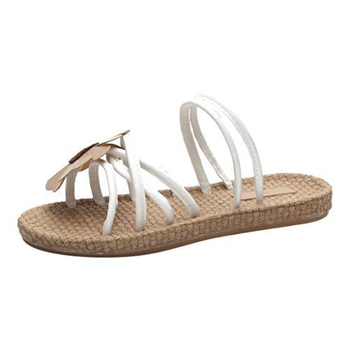 eaec7446 Women's Fashion Two Wear Sandals Flowers Retro Fashion Casual Flat Sweet  Simple Moda Sandali Donne Pantofole