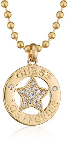 Guess Damen-Kette mit Anhänger WALK OF FAME Messing teilvergoldet Glas weiß 91.0 cm - UBN21606 (Guess Halskette Damen Gold)