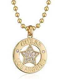 Guess Damen-Kette mit Anhänger WALK OF FAME Messing teilvergoldet Glas weiß 91. - UBN21606