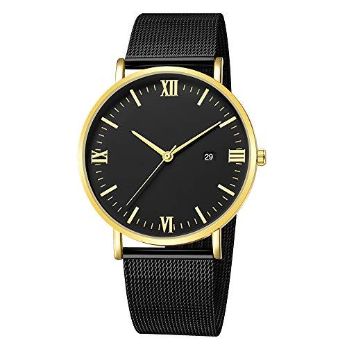 XZDCDJ Damen Uhr Armbanduhr Bracelet Jungen Uhr Quarz Ultradünne 8mm Edelstahl Zifferblatt Lederband Armbanduhr D 10 -