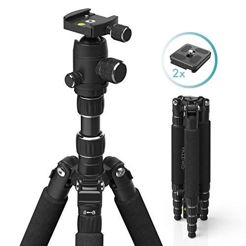 Stativ Kamerastativ für Canon Nikon Sony Spiegelreflexkameras I Fotostativ aus leichtem Aluminium I Reisestativ inkl. Tasche I Kugelkopf, 2 Schnellwechselplatten, GoPro Adapter, Handy Adapter