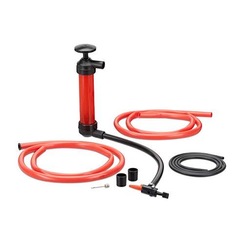 Relaxdays Öl Absaugpumpe, manuelle Handpumpe für Benzin, Diesel, Umfüllpumpe mit 3 Schläuchen, Luftpumpe Aufsätze, rot -