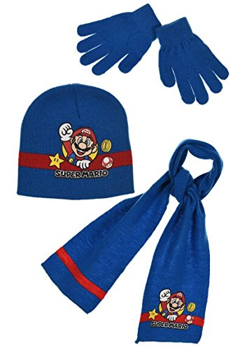 Super Mario Set Mütze Schal Handschuhe Kinder Größe 52von 2-5Jahren