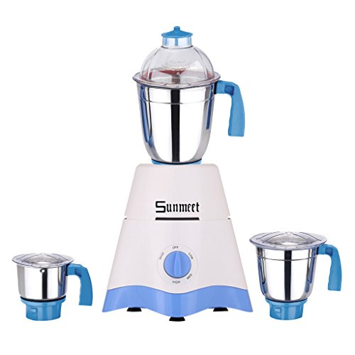 Sunmeet 750 Watts White-blue Color Mixer Grinder With 3 Jar (1 Midium Jar, 1 Large Jar And 1 Chuntey Jar) Direct Factory Outlet, Save On Retailer Margin.