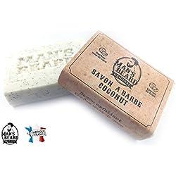 Man 's Beard - Jabón de coco exfoliante con leche de cabra alpina para un crecimiento homogéneo de la barba, fabricación francesa