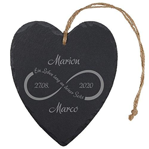 (Schieferherz – Unendlichkeit (Natur): dekoratives Schiefer Herz mit Gravur – personalisiert mit Namen und Datum, Hochzeitsgeschenke, Geschenke zum Hochzeitstag)
