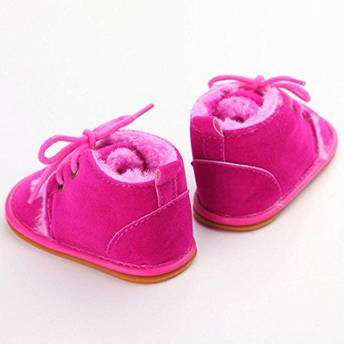 WOCACHI Baby Kleinkind Säuglings Schnee Stiefel Schuhe Gummisohle Prewalker Krippe Schuhe Krabbelschuhe (13, Himmelblau) Rosa
