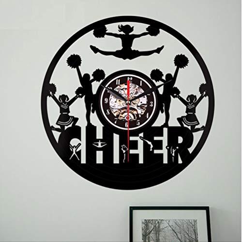 AZHQAA Schwarze Leim Schallplatte Uhr Cheerleading Betankung kreative Uhr Wohnzimmer Schlafzimmer Studieren Dekoration Wand Uhr (in) (Lock Tagebuch Junge)