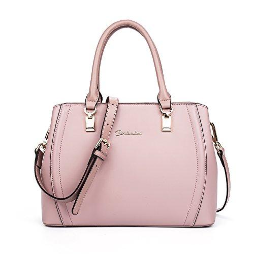 BOSTANTEN Damen Leder Schultertasche Handtasche Umhängetasche Henkeltasche Tote Bag Rosa Rosa