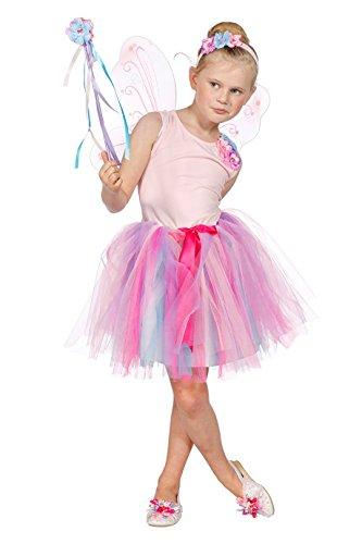 Tinkerbell Tiara Kostüm - Prinzessin Kleid Mädchen mit Tütü, Tiara und Zauberstab Fantasy Märchen Karneval Fasching Theater Hochwertige Verkleidung Fastnacht Größe 104 Rosa