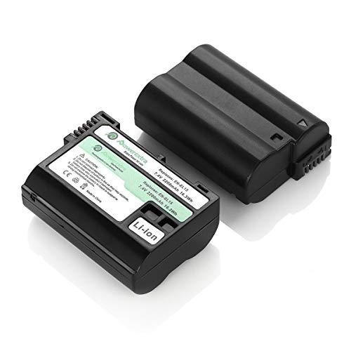 Powerextra 2x Batteria EN-EL15 Batterie da 2200mAh per Nikon 1 V1 | 810A | D600 | D610 | D750 | D800 | D800E | D810 | D810A | D810E | D7000 | D7100 | D7200