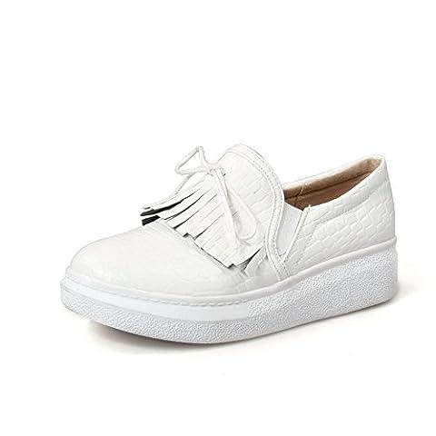 balamasa pour femme à enfiler low-heels Round-Toe Polyester pumps-shoes - Blanc - blanc, 35