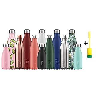 Chillys Flaschen Bottle | 100% Dicht | Edelstahl ohne BPA | Wiederverwendbare Wasserflasche | Doppelte Vakuumwand | hält 24 Stunden kalt - 12 Stunden heiß + Flaschenbürste (500ml, Floral Iris)