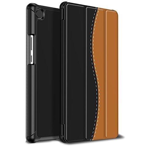 Infiland Huawei MediaPad M5 8.4 Hülle Case, Ultra Dünn PU Leder Superleicht Tri-Fold Ständer Schutzhülle Etui für Huawei MediaPad M5 8,8 Zoll Tablet-PC(mit Auto Schlaf/Wach Funktion),Schwarz & Braun