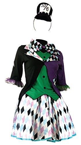 Emmas Garderobe Mad Hatter Kostüm - Mit Rock, Kleid, Hut, Fliege und Arm Cuffs - Schöne Kostüm für Halloween und Teepartys UK Größe 8-14 (Women: 34, Bright Set)