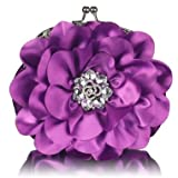 Purple Crystal Flower Satin Clutch