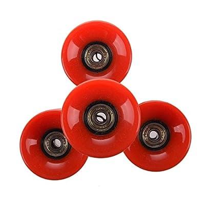 Soccik Skateboard Räder Set Skateboard Rollen 6 cm Durchmesser und 4,5 cm Breite Longboard Rollen Wheel Set Kugellager für Rot 4 Stück