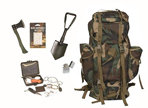 Survival Set BW Bundeswehr woodland Kampfrucksack + Spaten + Beil + Survival Box usw.