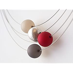 Polariskette grau rot silber Kette Collier