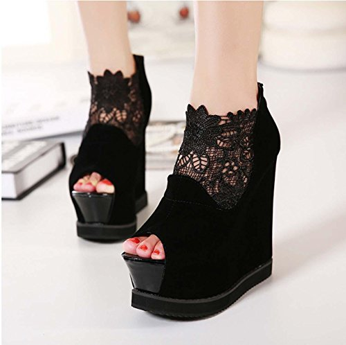 NobS Chaussures Femmes Chaussures Sky High Heels Waterproof Nightclub Fish Mouth Lace Sandals Black
