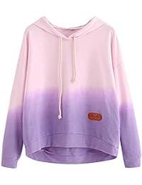 MIRRAY Damen Hoodie Printed Patchwork Sweatshirt Langarm Farbverlauf Pullover  Tops Bluse d3bff84db6