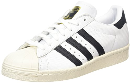 adidas Herren Superstar 80s Sneaker - Mehrfarbig (Running Weiß / Trace Blau / Grau) , 36 EU -