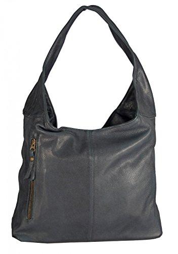 Banrallo - Leder Schultertasche Hobobag URBAN BAG Damen Shopper Henkeltaschen Beuteltasche 40x32x13 cm (B x H x T), Farbe:gelb dunkelpetrol