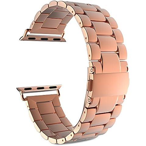 MoKo Apple Watch SERIES 1 / 2 Correa - Reemplazo SmartWatch Band de Reloj Acero Inoxidable con Doble Botones Plegable para Apple Watch 42mm, Oro Rosa (NO ADPTA PARA 38mm / NO INCLUYE MARCO)
