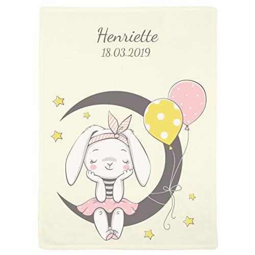 Wolimbo Flausch Babydecke mit Namen und verträumtes Häschen - personalisierte/individuelle Geschenke für Babys und Kinder zur Geburt, Taufe und Geburtstag - 75x100 cm