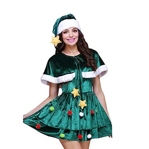 Kostüm Weibliche Santa Claus - Yunfeng weihnachtsmann kostüm Damen Santa Claus Kostüm Erwachsene weibliche grüne Elfe Kleid Anzug Kostüm Erwachsene Weihnachtsfeier Cosplay Kostüm