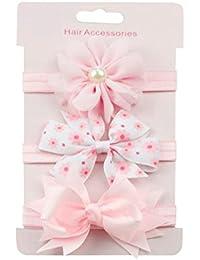 K-youth® 3 Pcs Diademas Bebé Arco del pelo de la venda elástico Bebé Cinta Para El Pelo Infantil Algodón Sólido Mariposa Niñas Banda Para La Cabeza Diadema