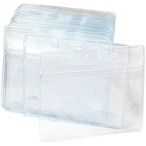 Porta badge documento targhetta nome in plastica trasparente orizzontale x50 pezzi